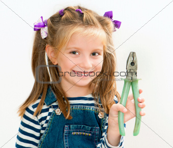smiling girl with pliers