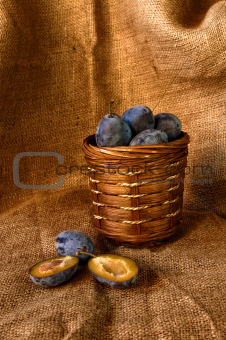 Plum on table