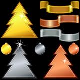 vector  gold, silver, bronze christmas trees, balls, ribbons