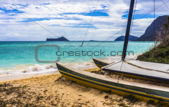 Catamaran on Waimanalo Beach