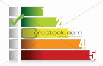 colorful graph illustration and checkmark