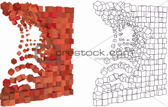 abstract 3d exploding wall in different shades of red