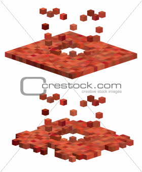 3d cube exploding floor pattern in red orange