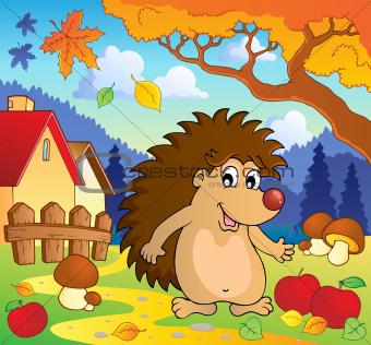 Autumn scene with hedgehog 1