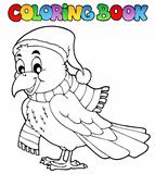 Coloring book cartoon raven