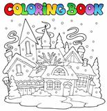 Coloring book winter town image 1