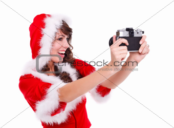 Santa helper taking photo of herself
