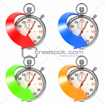 Stopwatch with Colored Arrow. Set on White.