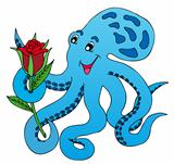 Blue octopus with rose