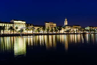 Panorama of Old Town of Split at Night, Croatia