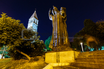 Gregory of Nin Statue and Bell Tower in Split at Night, Croatia