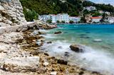 Beautiful Rocky Beach and Adriatic Sea Surf near Split, Croatia