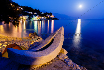 White Boat on the Beach and Transparent Mediterranean Sea in the