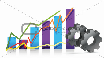 gear graph illustration design over white