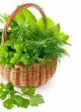 green herbs in braided basket