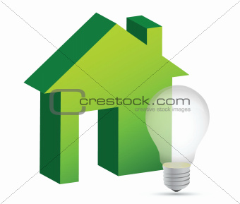 house with a lightbulb illustration design