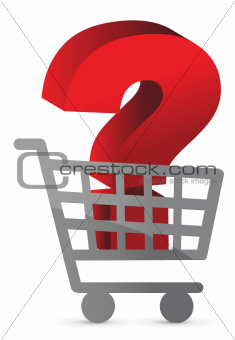 question mark inside a shopping cart