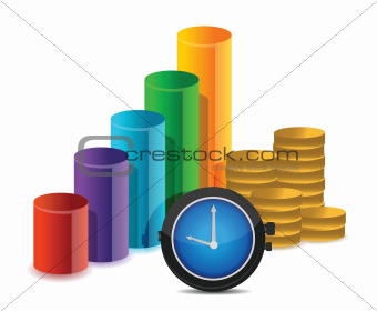 business graph coins and watch illustration