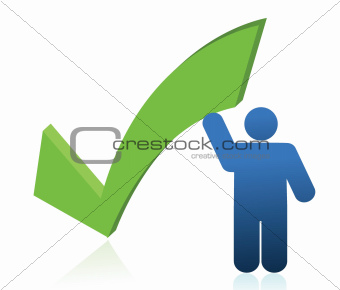 icon holding a check mark illustration design