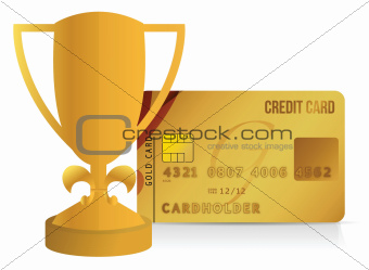 credit card trophy cup illustration design