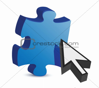 puzzle piece and a cursor illustration
