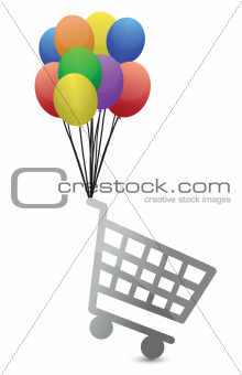shopping cart flying away illustration design