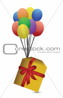 gift and balloons illustration