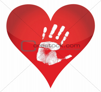 heart and handprint illustration design