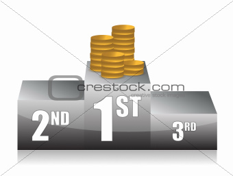 podium with coins illustration design