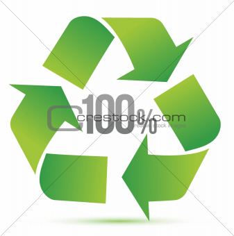 100% recycle illustration symbol