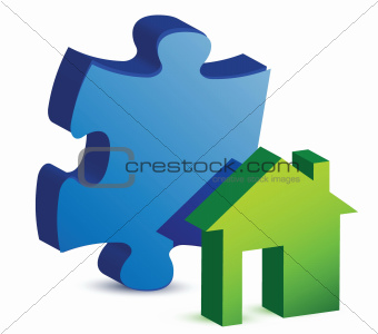 house and puzzle piece
