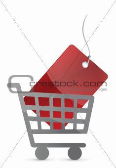 shopping cart and red tag