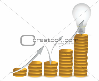 coins and lightbulb illustration design