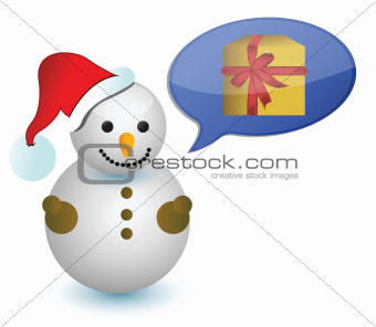 snowman thinking in a gift illustration