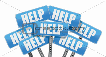 multiple help signs illustration