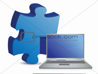 laptop puzzle piece over white