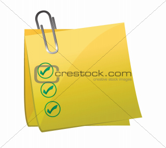 checkmark post it yellow