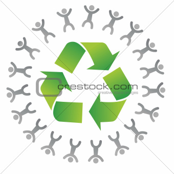 people around a recycle sign