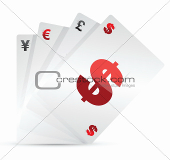 set of currency cards
