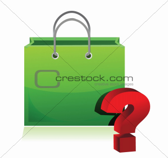 shopping bag and question mark
