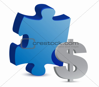 puzzle and dollar illustration design