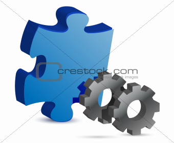puzzle piece and gear illustration design