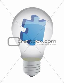 puzzle piece lightbulb illustration design