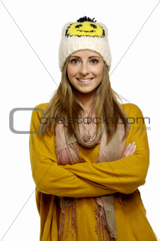 Beautiful young woman in casual wear isolated on a white background