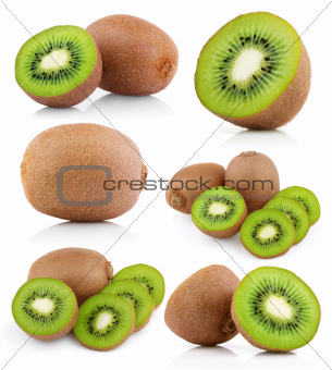 Set of kiwi fruits with slices