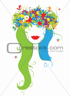 Woman head with floral wreath