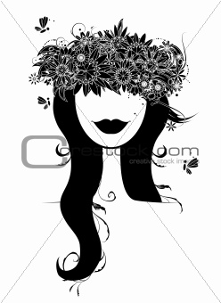 Woman head silhouette with floral wreath