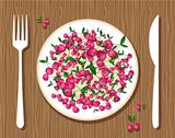 Cherries on plate with fork and knife on wooden background for your design