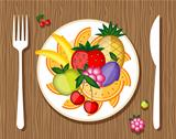 Fruits on plate with fork and knife on wooden background for your design