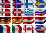 Set of Metal Flags - 16 Items